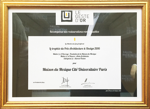 Prix Architecture et Design 2016 Geste d'Or Atela Architectes